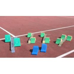 Starting blocks and relay batons
