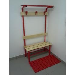 Sitzbank für Umkleideräume mit Rückenlehne, Kleiderhaken und Oberablage m 1