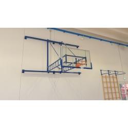 Faltbare Basketballanlage für die Wand F.I.B.A. Zertifiziert