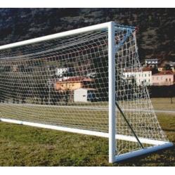 ein Paar Fussballtore aus Aluminium, transportabel, m 7,32x2,44 Zertifiziert gemäß NORM UNI EN 748