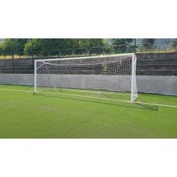 vorschriftsmäßige Fussballtore aus Aluminium, m 7,32x2,44 mit Hülsen,geprüft gemäß NORM UNI EN 748