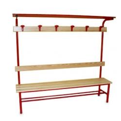 Sitzbank für Umkleideräume, mit Rückenlehne, Kleiderhaken und Oberablage m 2