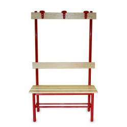 Sitzbank für Umkleideräume mit Rückenlehne und Kleiderhaken m 1