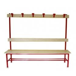 Sitzbank für Umkleideräume, mit Rückenlehne und Kleiderhaken m 2