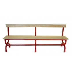 Sitzbank für Umkleideräume mit Rückenlehne m 2
