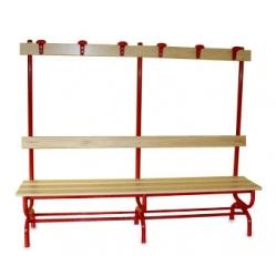 Sitzbank für Umkleideräume mit Rückenlehne und Kleiderhaken m 2