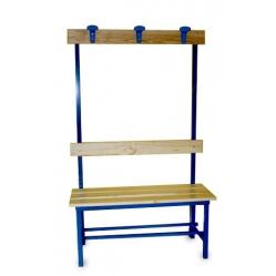 Sitzbank für Umkleideräume, mit Rückenlehne und Kleiderhaken m 1