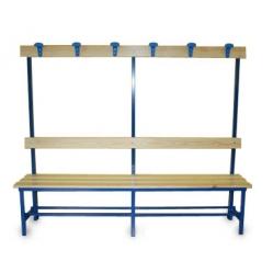 Sitzbank für Umkleideräumen, Rückenlehne und Kleiderhaken m 2