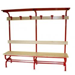 Sitzbank für Umkleideräume mit Rückenlehne, Kleiderhaken und Oberablage