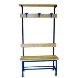 Sitzbank für Umkleideräume, Rückenlehne, Kleiderhaken und Oberablage m. 1
