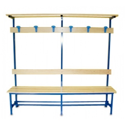 Sitzbank für Umkleideräume, Rückenlehne, Kleiderhaken und Oberablage m 2