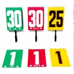 Auswechseltafel für Spielerwechsel mit Nummernanzeige ohne Handgriff