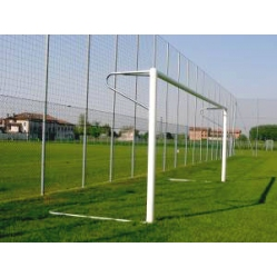 Football goals in aluminium 6x2 m with ground sleeves