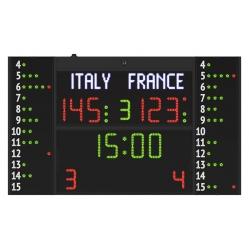 Multisport electronic scoreboard with side panels