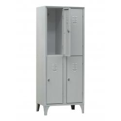Metal locker with 2 superimposed units
