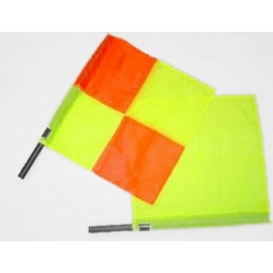 Linesman flag draped with a checkered yellow and orange