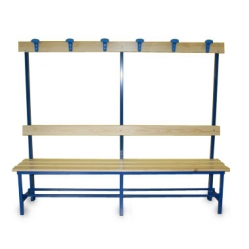 Dressing bench with seat, backrest and cloter hanger hooks m.2