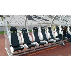 Panchina allenatori in alluminio con sedute in pelle