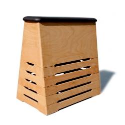 Plinto in legno a cassoni ricoperto in cuoio