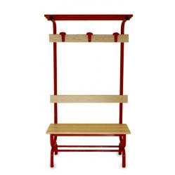 Panchina spogliatoio seduta, schienale, appendiabiti e cappelliera m.1