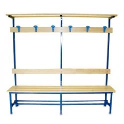 Panchina spogliatoio seduta, schienale, appendiabiti e cappelliera m.2