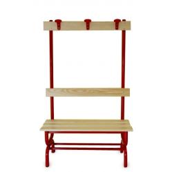 Panchina spogliatoio seduta, schienale e appendiabiti m.1