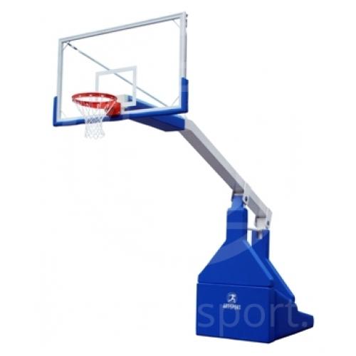 Basketballanlage mit manuellem ölhydraulischem Antrieb F.I.B.A. geprüft