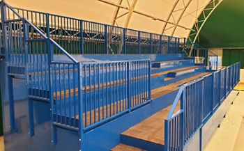 Fixed modular grandstands for tensile structure