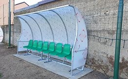 Covered bench for staff and athletes
