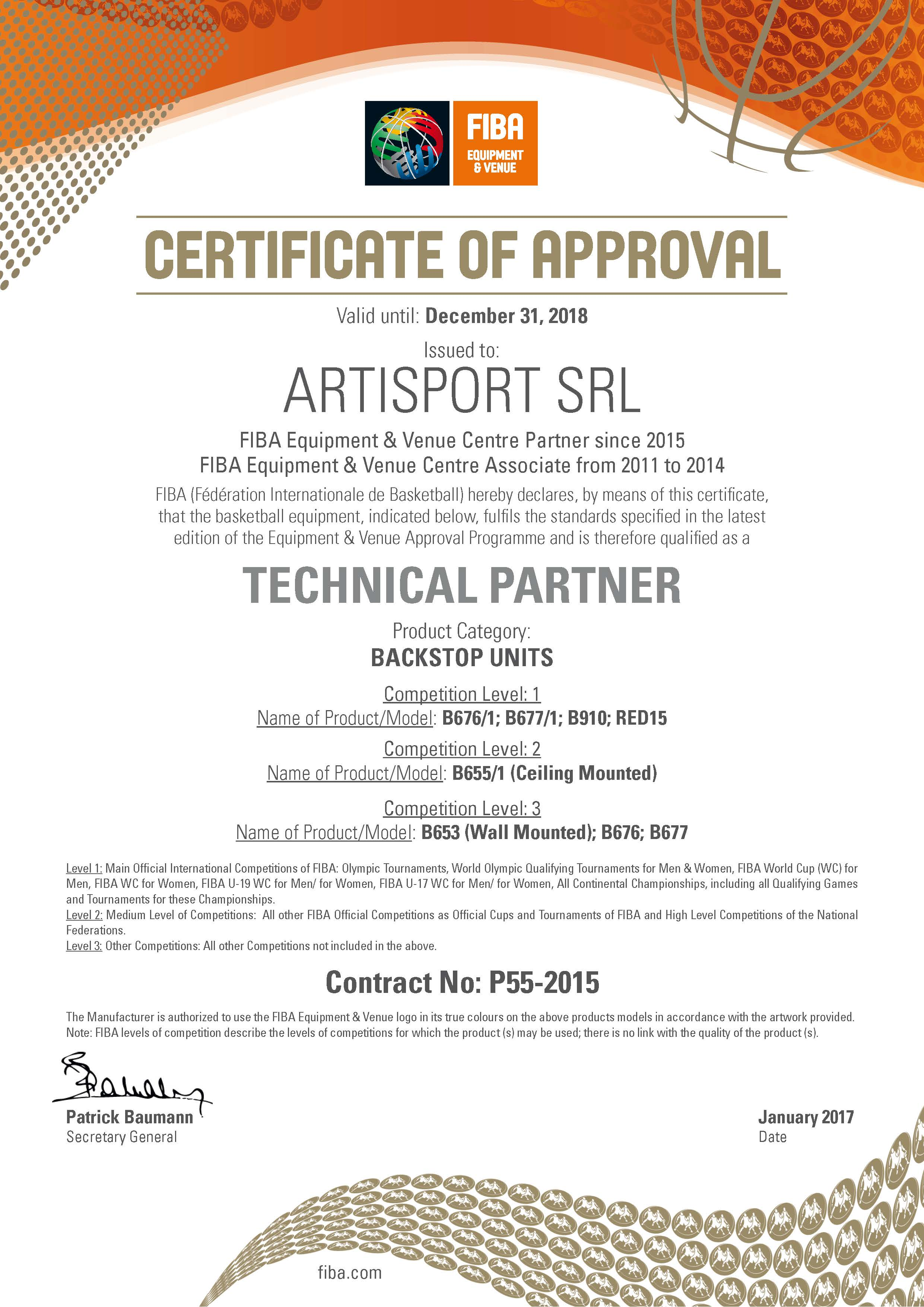 Artisport Fiba Certificate Approved Basket Facility