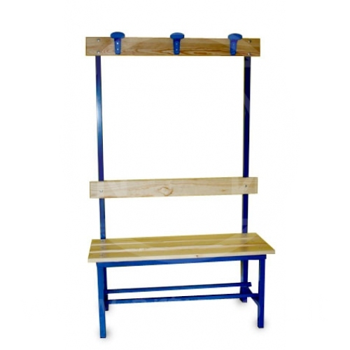 Bench for gym locker rooms with clothes hooks