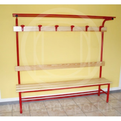 Locker Room Complete Bench With Coat Hanger Hat Rack